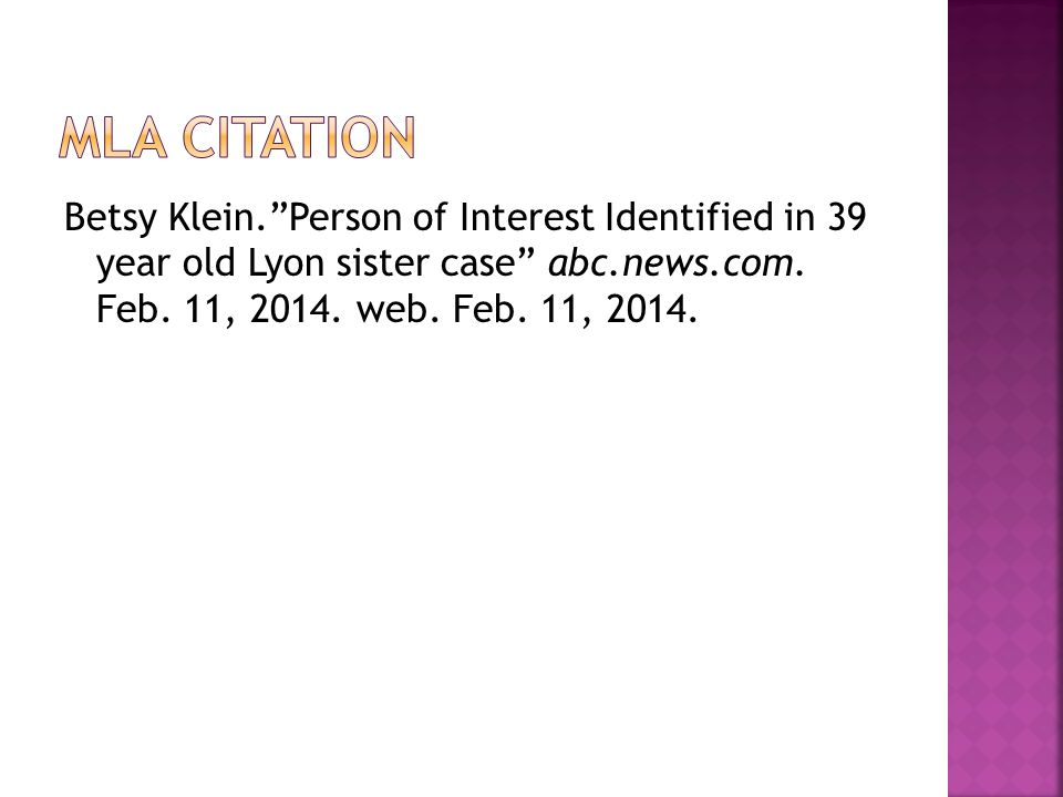 Betsy Klein.Person of Interest Identified in 39 year old Lyon sister case abc.news.com.