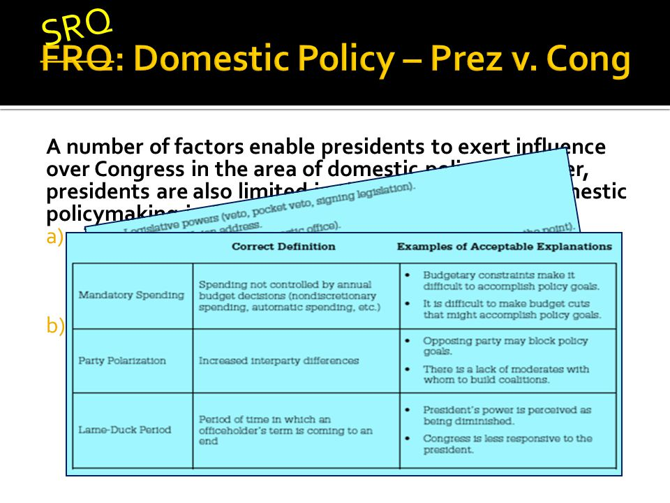A number of factors enable presidents to exert influence over Congress in the area of domestic policy.
