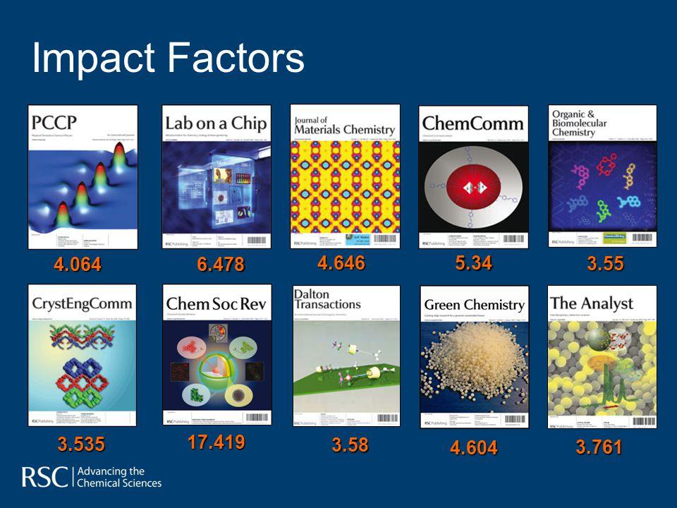 Impact Factors 4.064 6.478 4.646 5.34 3.55 3.535 17.419 3.58 4.604 3.761