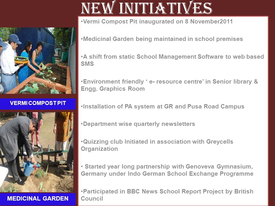 New Initiatives Vermi Compost Pit inaugurated on 8 November2011 Medicinal Garden being maintained in school premises A shift from static School Manage