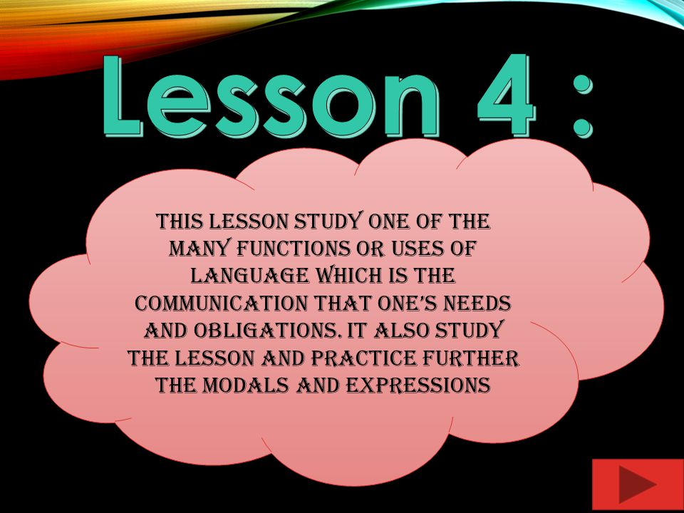 This lesson study one of the many functions or uses of language which is the communication that ones needs and obligations.