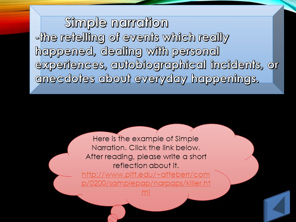 Here is the example of Simple Narration. Click the link below.