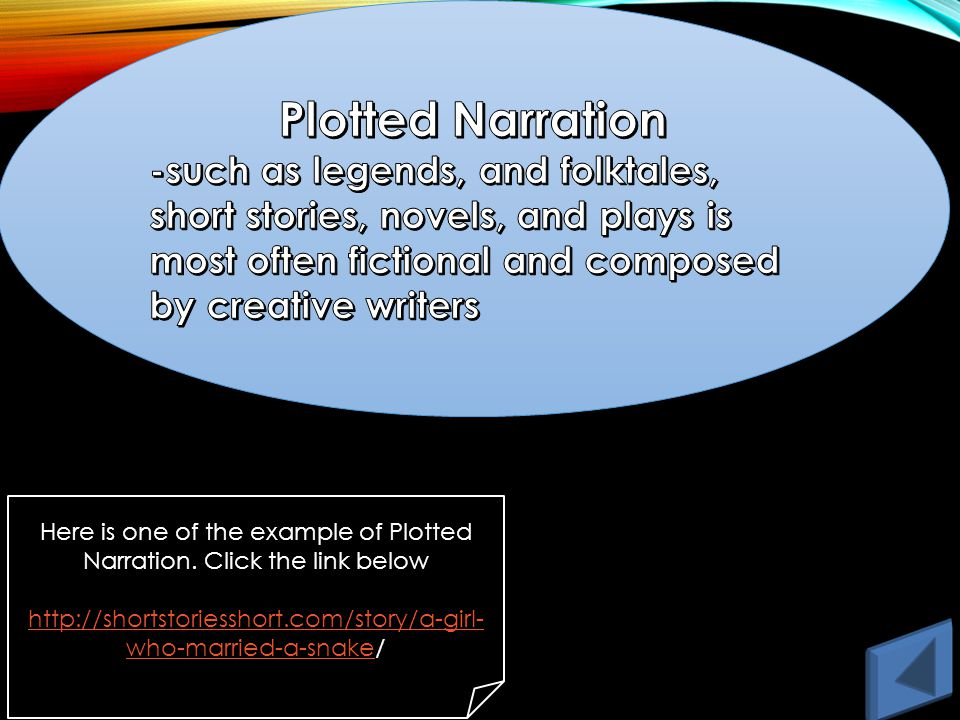 Here is one of the example of Plotted Narration.