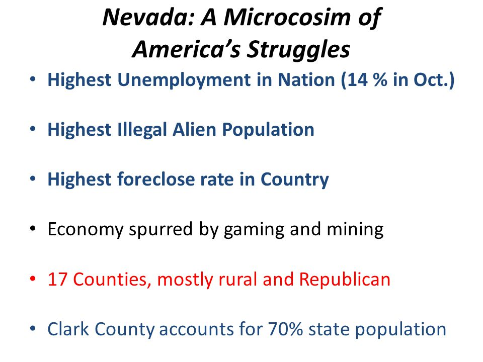 Nevada: A Microcosim of Americas Struggles Highest Unemployment in Nation (14 % in Oct.) Highest Illegal Alien Population Highest foreclose rate in Co