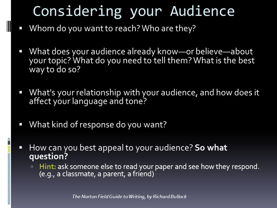 Considering your Audience Whom do you want to reach? Who are they? What does your audience already knowor believeabout your topic? What do you need to