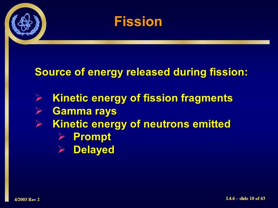 4/2003 Rev 2 I.4.6 – slide 10 of 63 Fission Source of energy released during fission: Kinetic energy of fission fragments Kinetic energy of fission fr