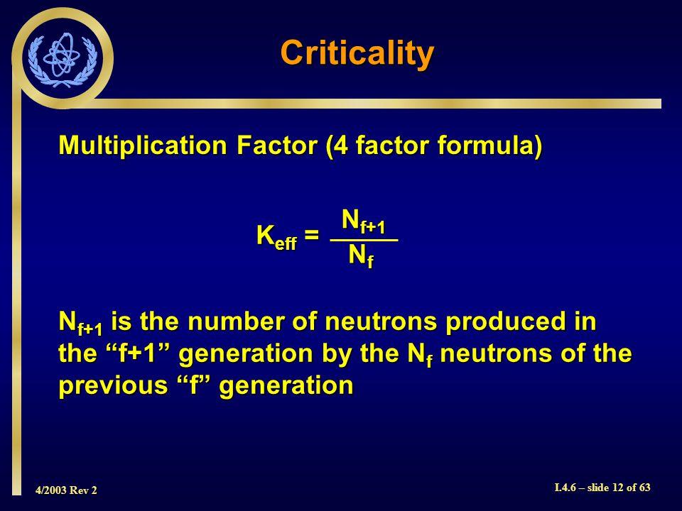 4/2003 Rev 2 I.4.6 – slide 12 of 63 Criticality Multiplication Factor (4 factor formula) K eff = N f+1 NfNfNfNf N f+1 is the number of neutrons produc