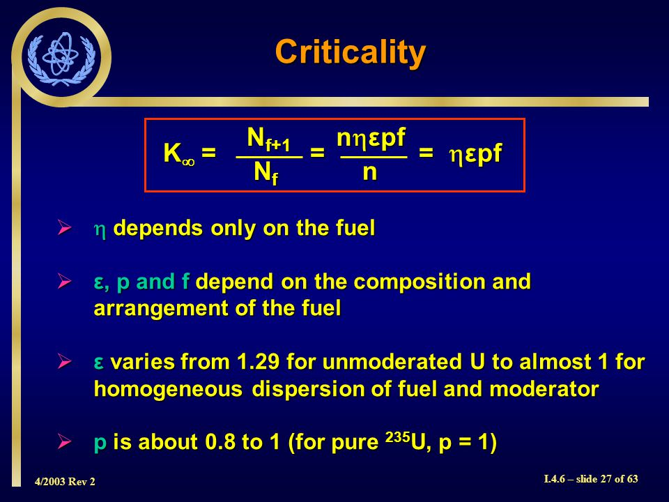 4/2003 Rev 2 I.4.6 – slide 27 of 63 Criticality K = = = εpf N f+1 NfNfNfNf n εpf n depends only on the fuel depends only on the fuel ε, p and f depend