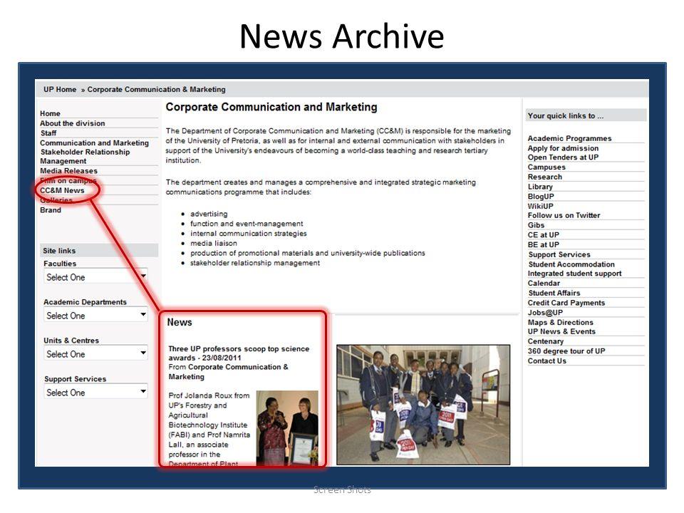 News Archive Screen Shots