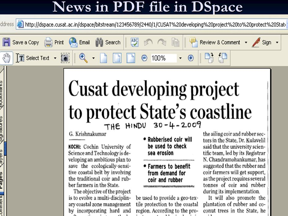 News Item in local language in DSpace