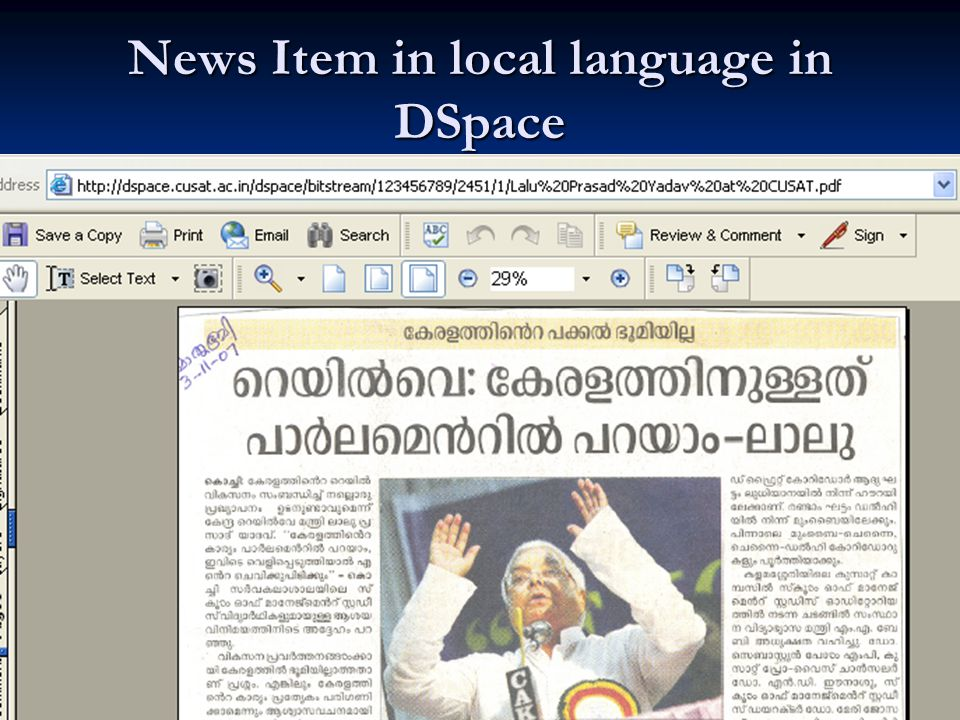 Benefits of Using DSpace for News Archiving Newspaper editions are region specific.