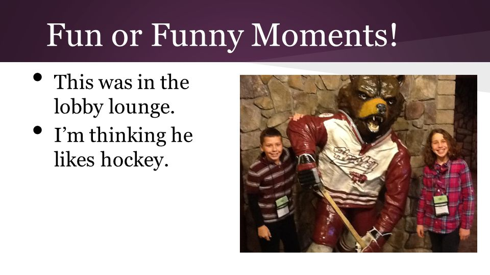 Fun or Funny Moments! This was in the lobby lounge. Im thinking he likes hockey.