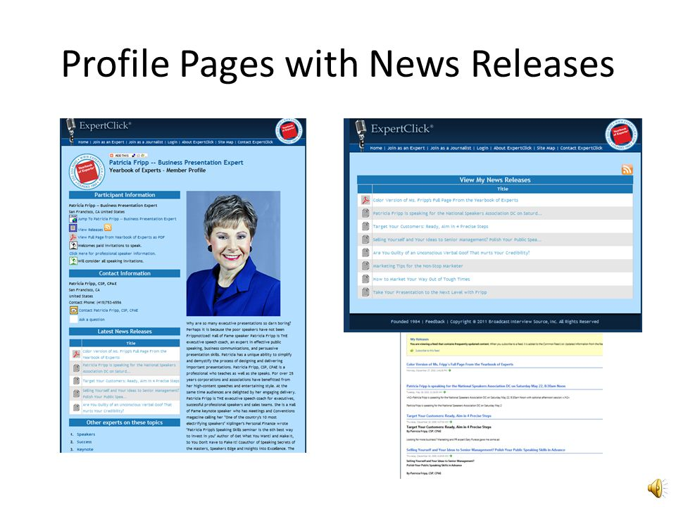 Profile Pages with News Releases