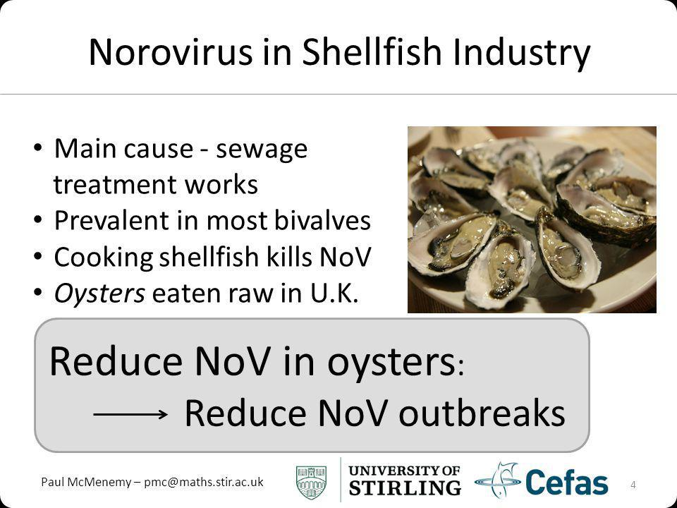 Paul McMenemy – pmc@maths.stir.ac.uk Reduce NoV in oysters : Reduce NoV outbreaks Norovirus in Shellfish Industry 4 Main cause - sewage treatment works Prevalent in most bivalves Cooking shellfish kills NoV Oysters eaten raw in U.K.