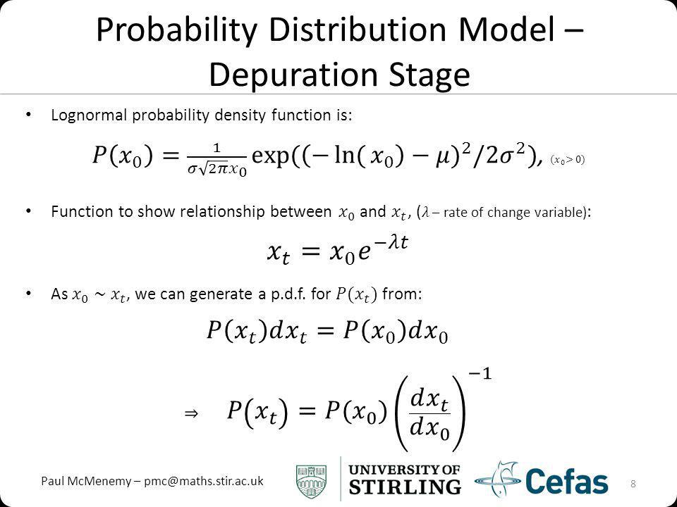 Paul McMenemy – pmc@maths.stir.ac.uk Probability Distribution Model – Depuration Stage 8