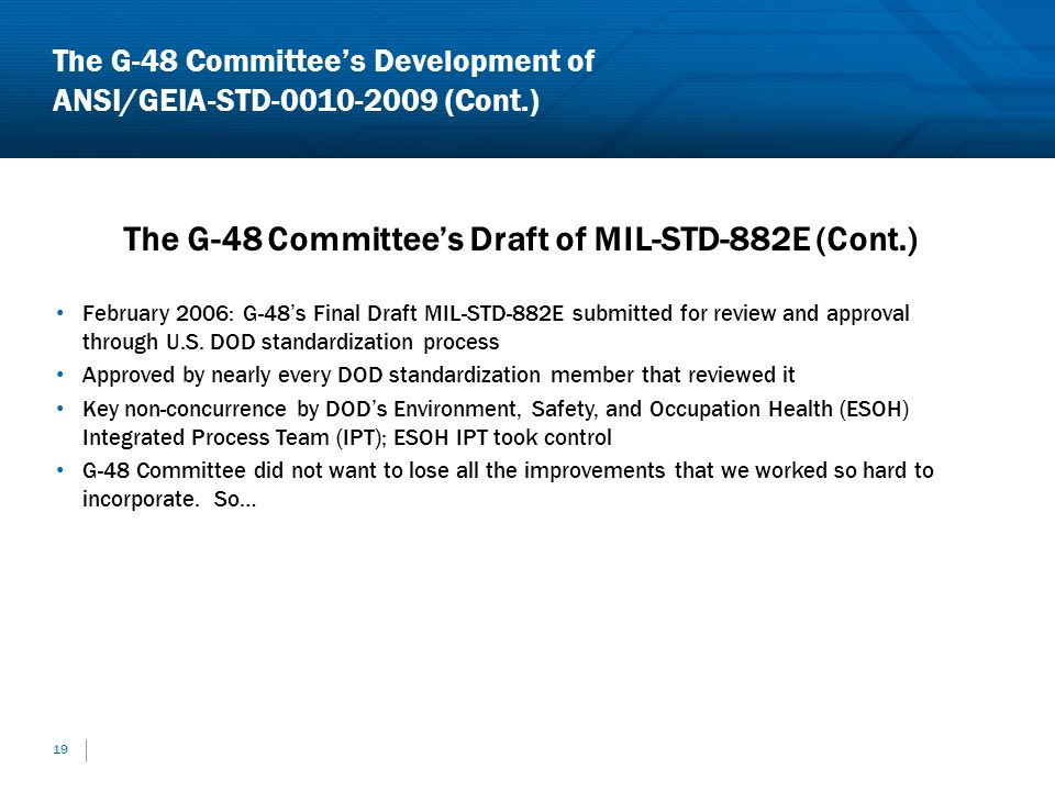 19 The G-48 Committees Draft of MIL-STD-882E (Cont.) February 2006: G-48s Final Draft MIL-STD-882E submitted for review and approval through U.S. DOD
