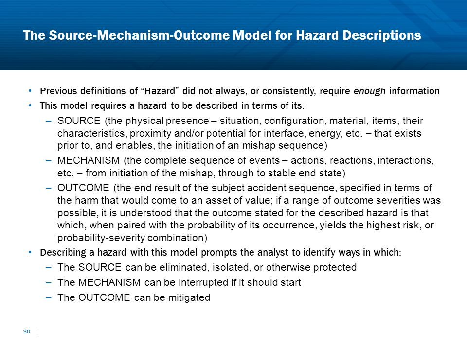 The Source-Mechanism-Outcome Model for Hazard Descriptions 30 Previous definitions of Hazard did not always, or consistently, require enough informati