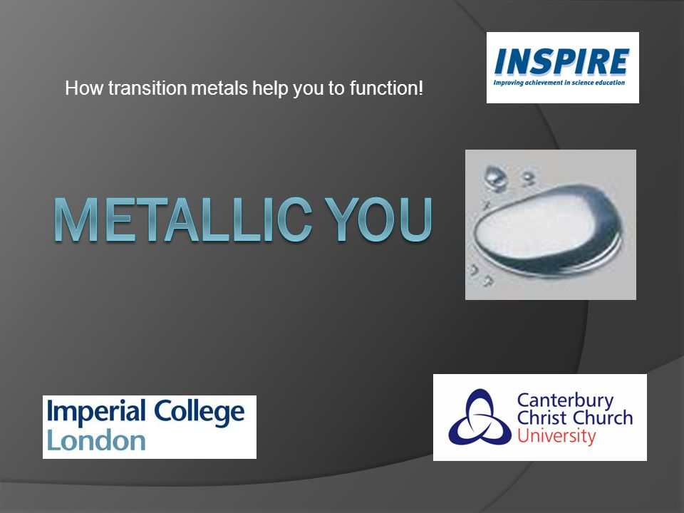 How transition metals help you to function!