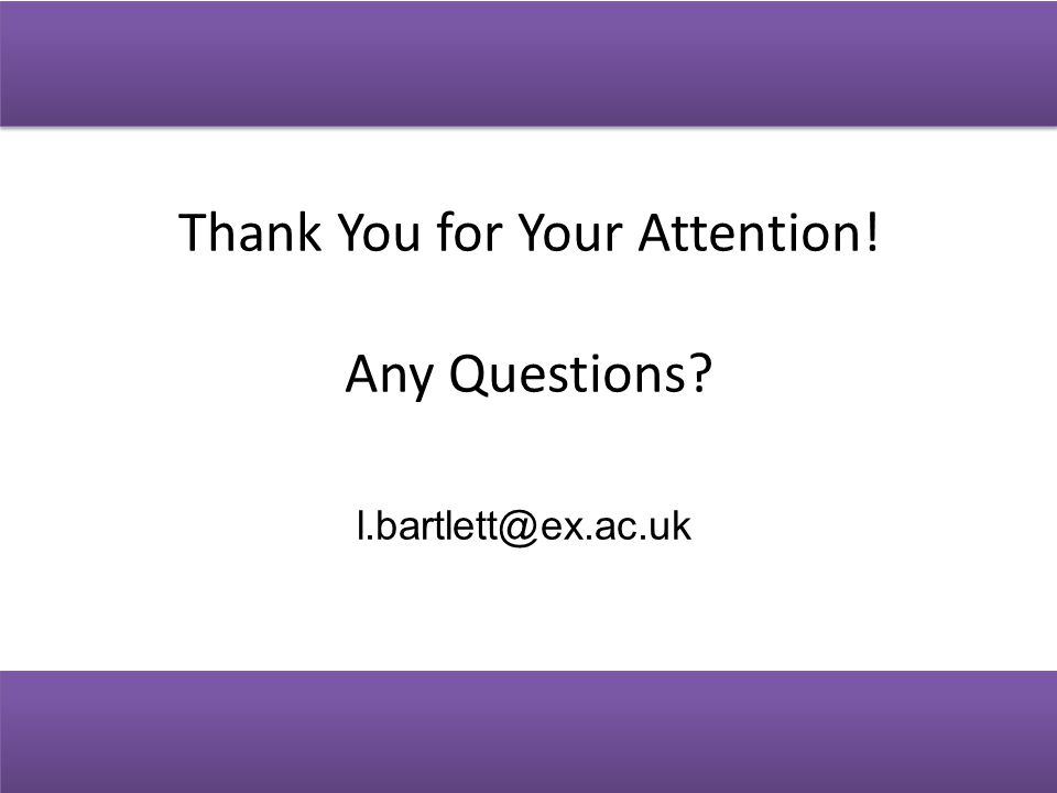 Thank You for Your Attention! Any Questions l.bartlett@ex.ac.uk