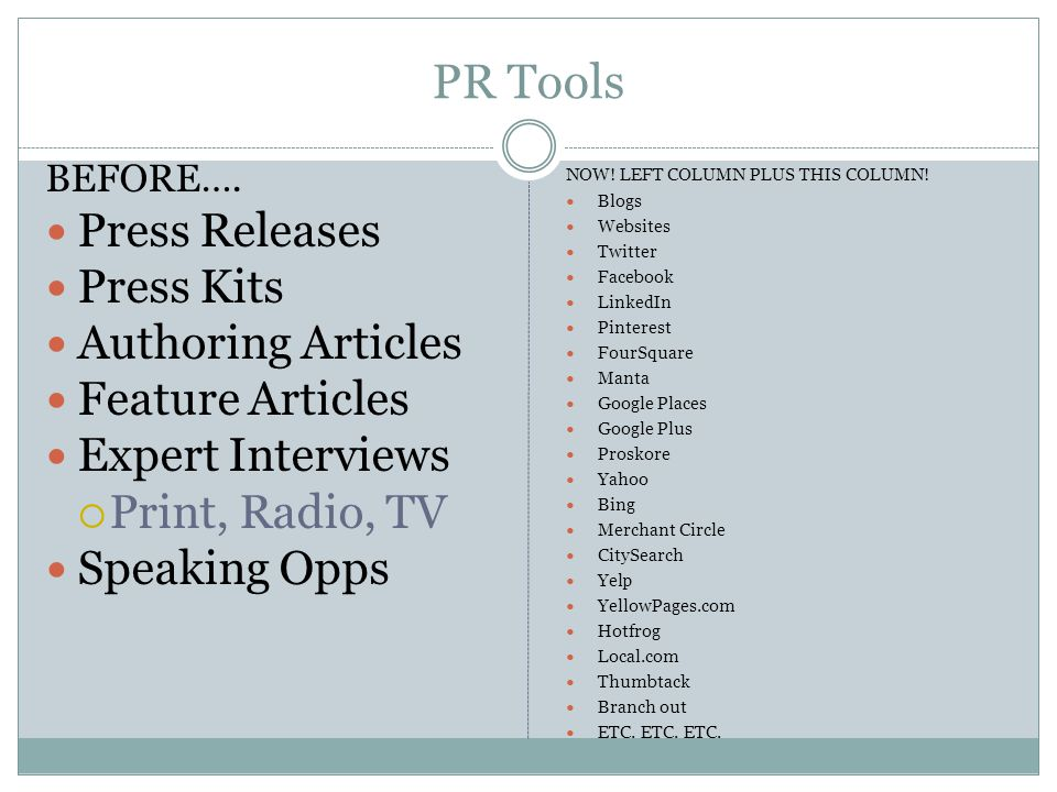 PR Tools BEFORE….