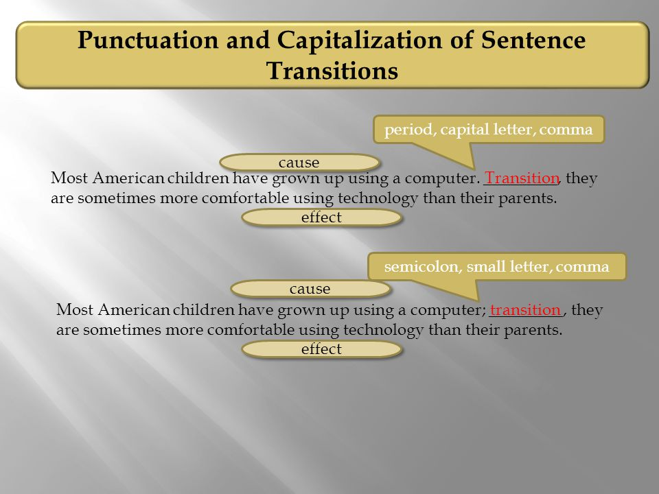Most American children have grown up using a computer. _________, they are sometimes more comfortable using technology than their parents. Punctuation