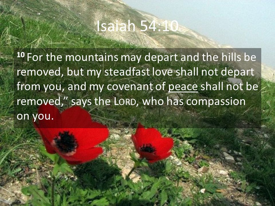 Isaiah 54:10 10 For the mountains may depart and the hills be removed, but my steadfast love shall not depart from you, and my covenant of peace shall not be removed, says the L ORD, who has compassion on you.