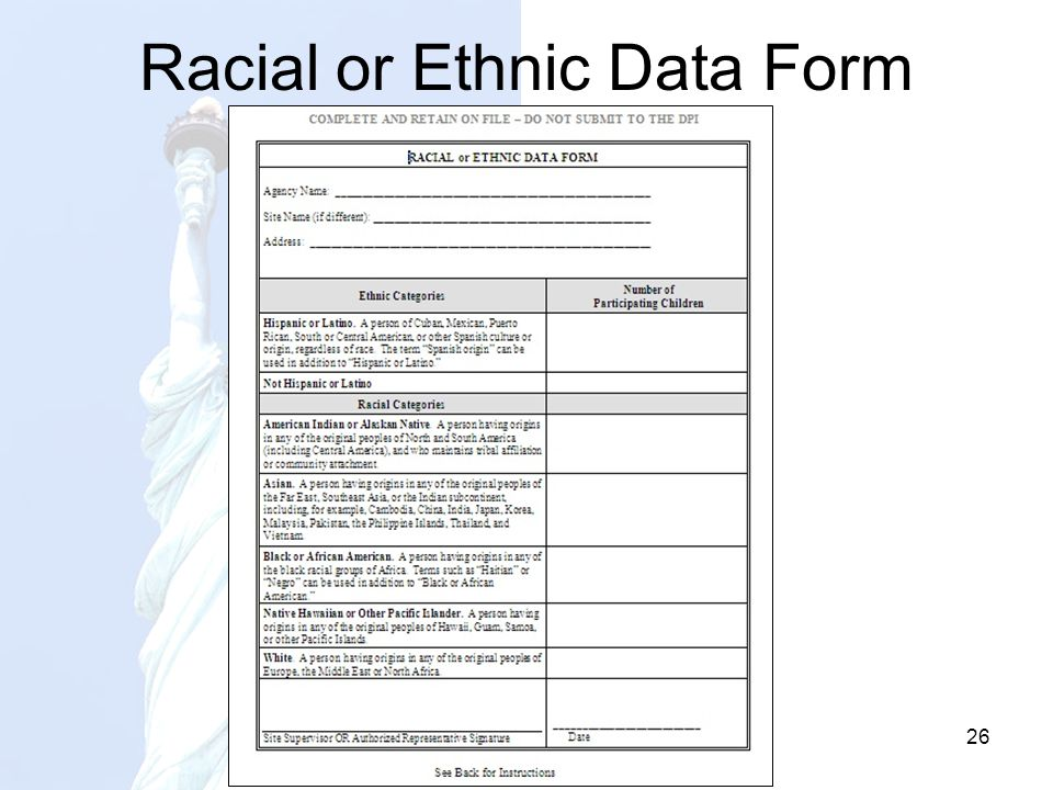 Racial or Ethnic Data Form 26