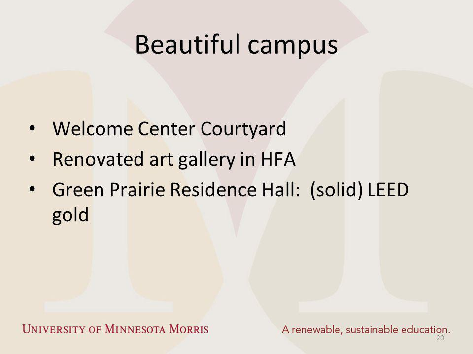 Beautiful campus Welcome Center Courtyard Renovated art gallery in HFA Green Prairie Residence Hall: (solid) LEED gold 20