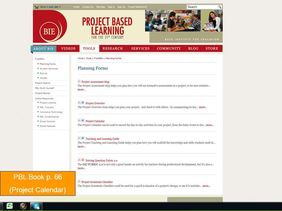 PBL Book p. 66 (Project Calendar)