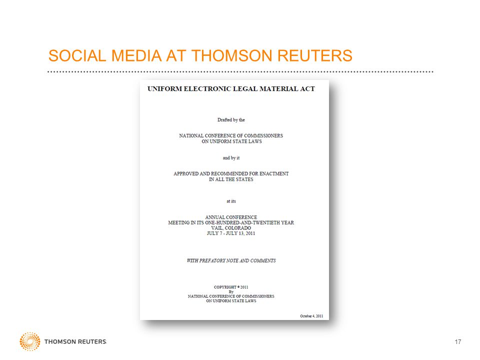 SOCIAL MEDIA AT THOMSON REUTERS 17