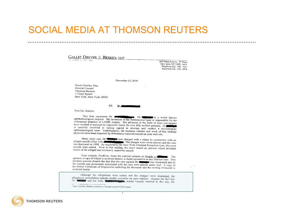 SOCIAL MEDIA AT THOMSON REUTERS