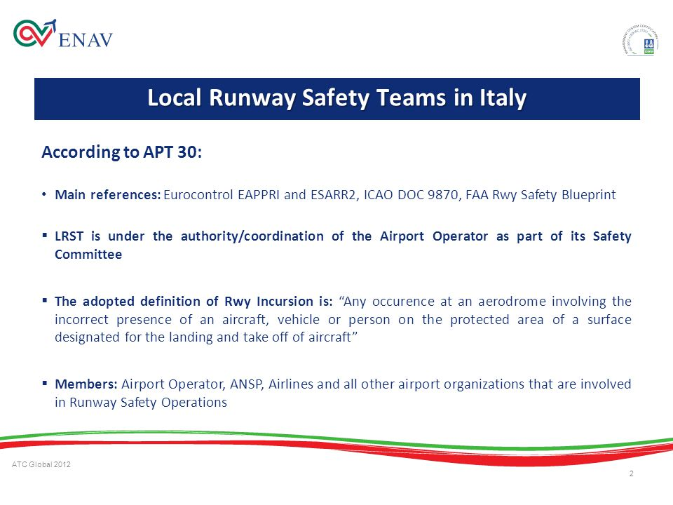 ATC Global 2012 2 According to APT 30: Main references: Eurocontrol EAPPRI and ESARR2, ICAO DOC 9870, FAA Rwy Safety Blueprint LRST is under the autho