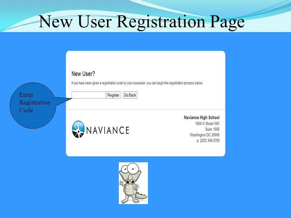 New User Registration Page 12 Enter Registration Code