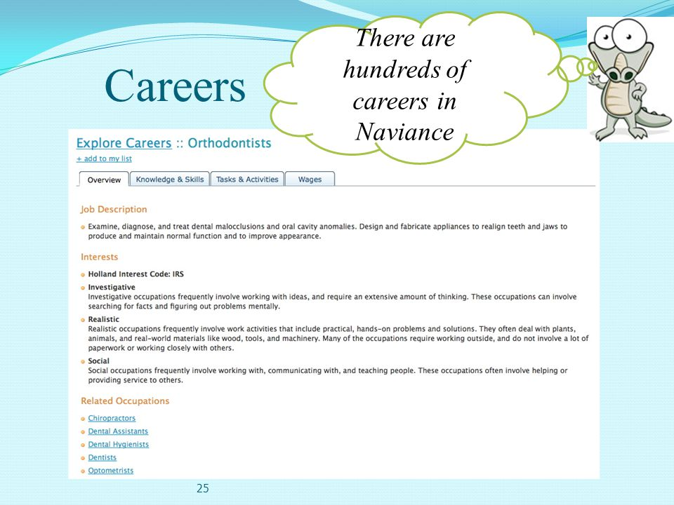 Careers 25 There are hundreds of careers in Naviance