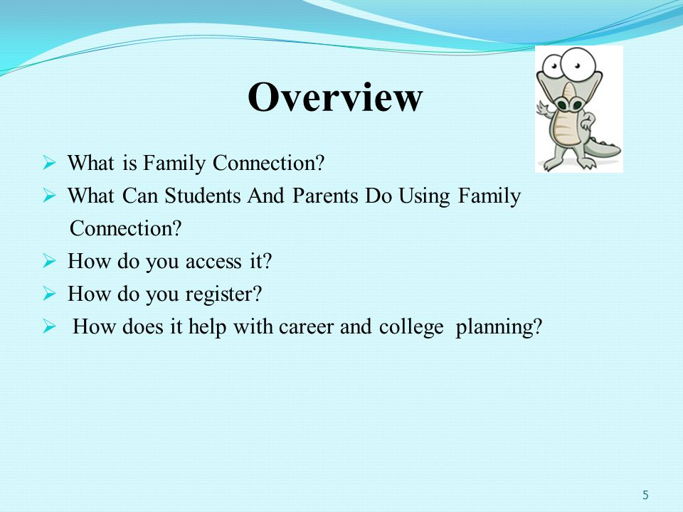 26 Shared resource linking home to school On-line tool for collaboration among counselors, students, and parents Accurate, complete records about student choices from our school Realistic assessments of your childs chances of admission at colleges where prior graduates have applied Career exploration How does Naviance help?