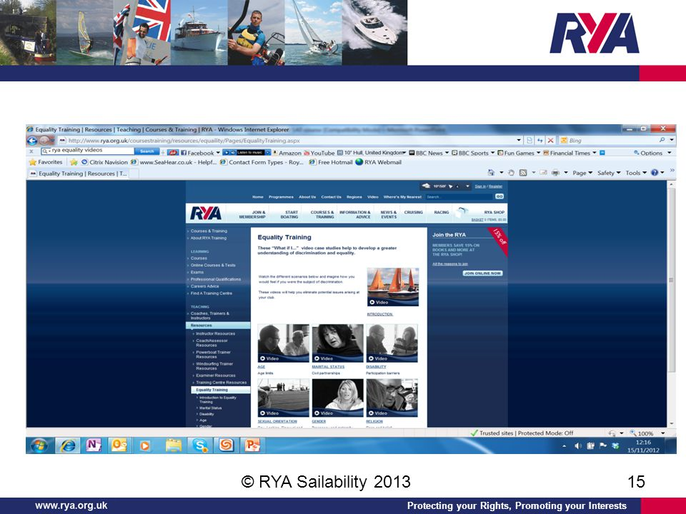 Protecting your Rights, Promoting your Interests © RYA Sailability 201315