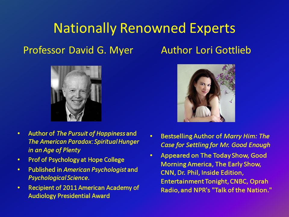 Nationally Renowned Experts Professor David G.