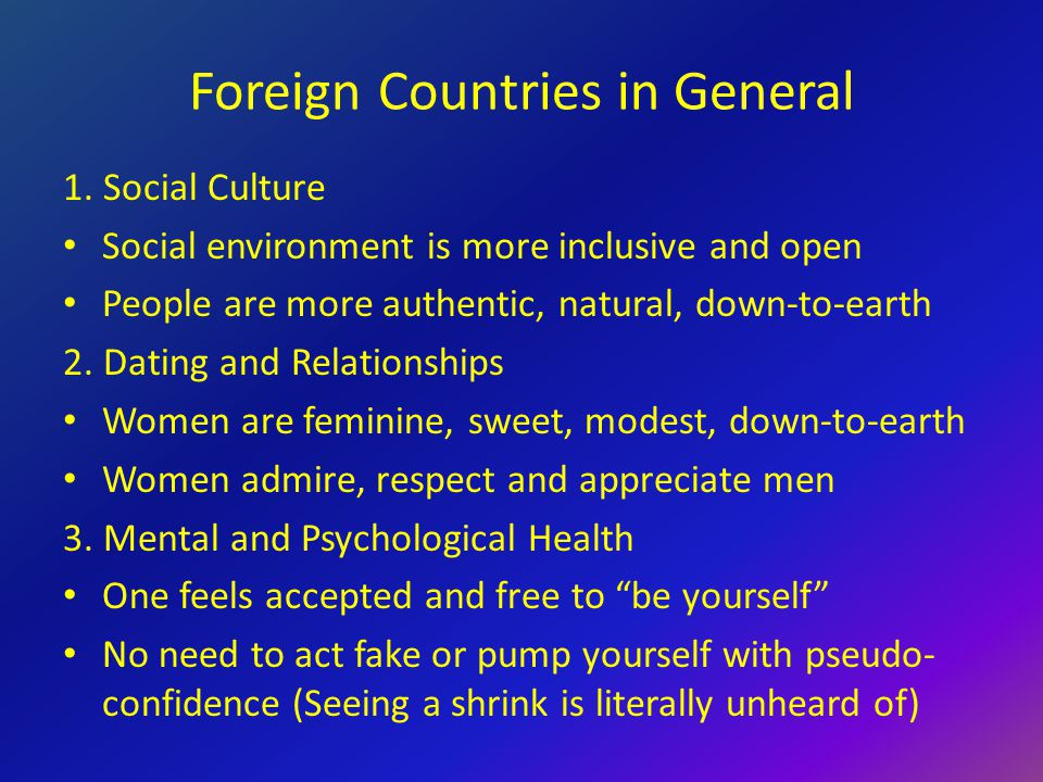 Foreign Countries in General 1.