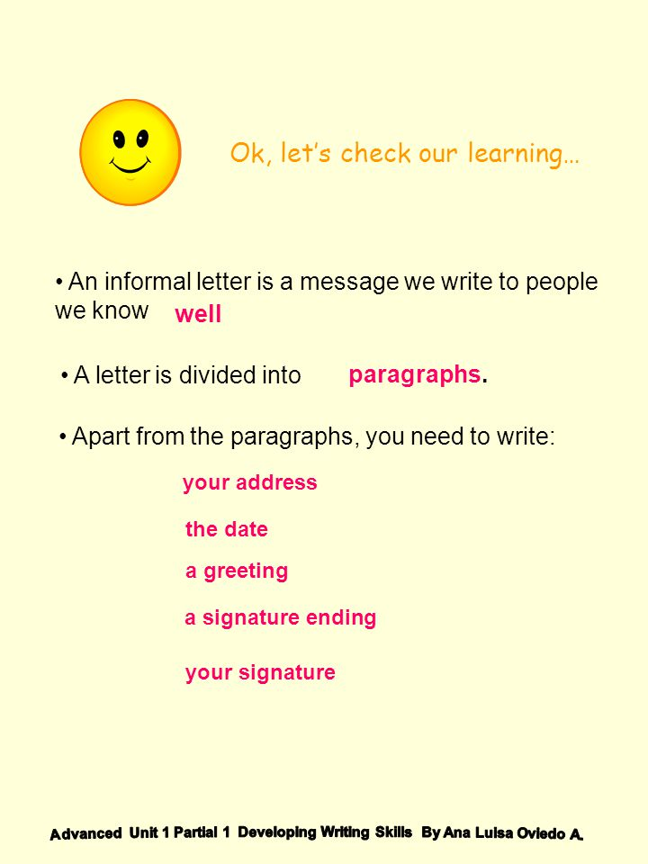 Ok, lets check our learning… An informal letter is a message we write to people we know A letter is divided into Apart from the paragraphs, you need t