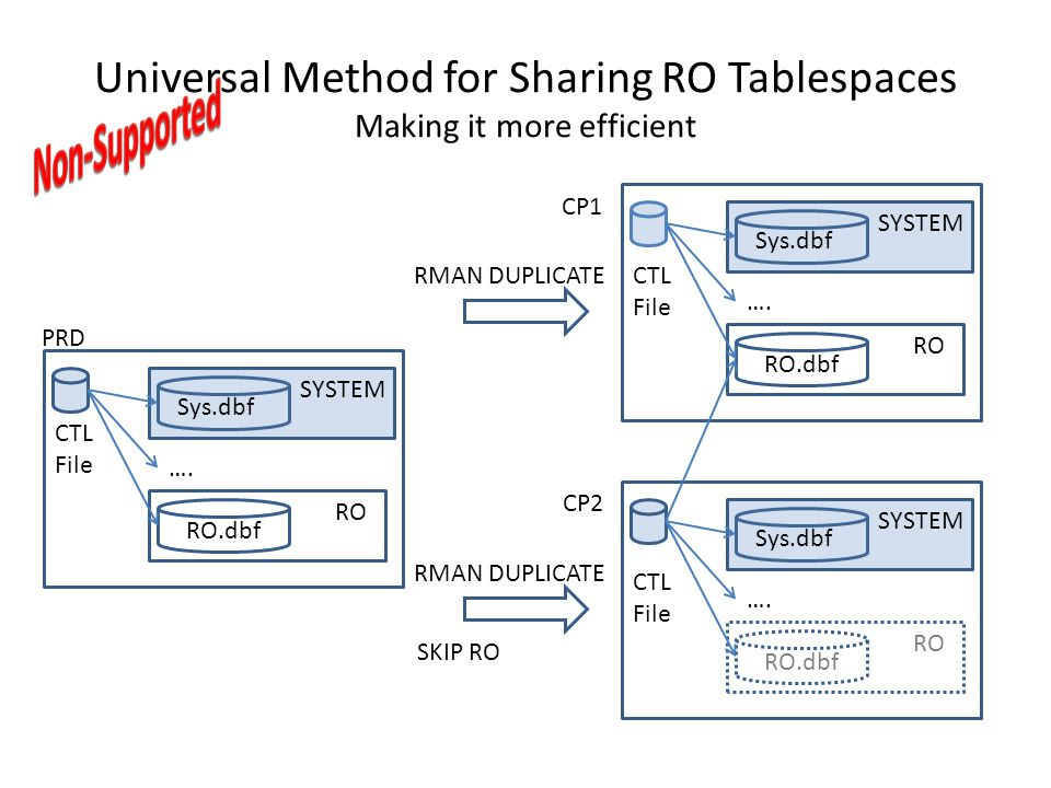 Universal Method for Sharing RO Tablespaces Making it more efficient Sys.dbf SYSTEM RO RO.dbf …. Sys.dbf SYSTEM RO RO.dbf …. Sys.dbf SYSTEM RO RO.dbf