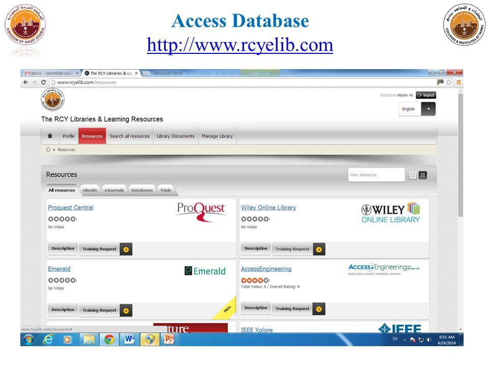 Access Database http://www.rcyelib.com http://www.rcyelib.com