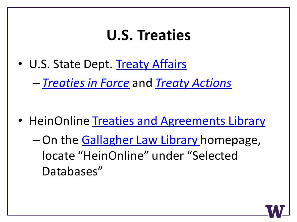 U.S. Treaties U.S. State Dept.