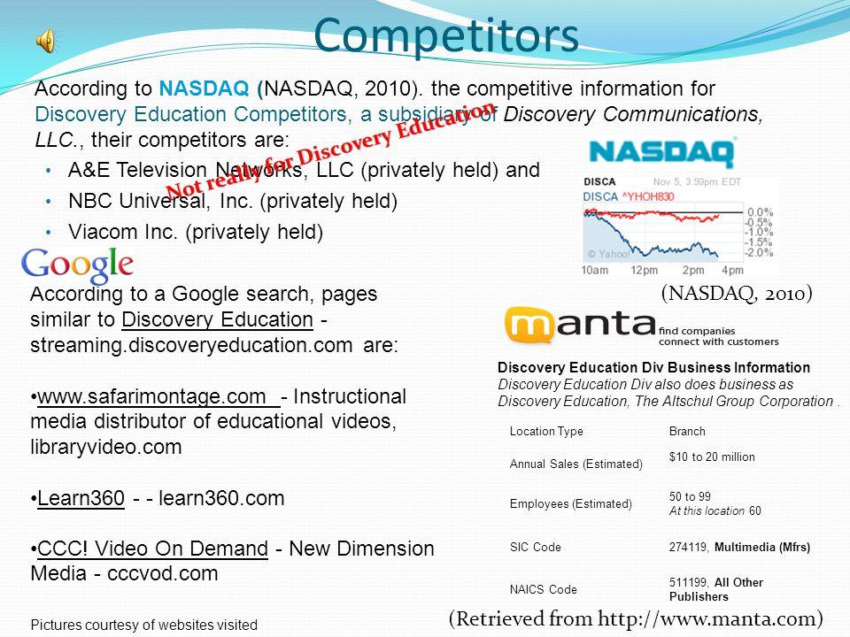 Competitors According to NASDAQ (NASDAQ, 2010).