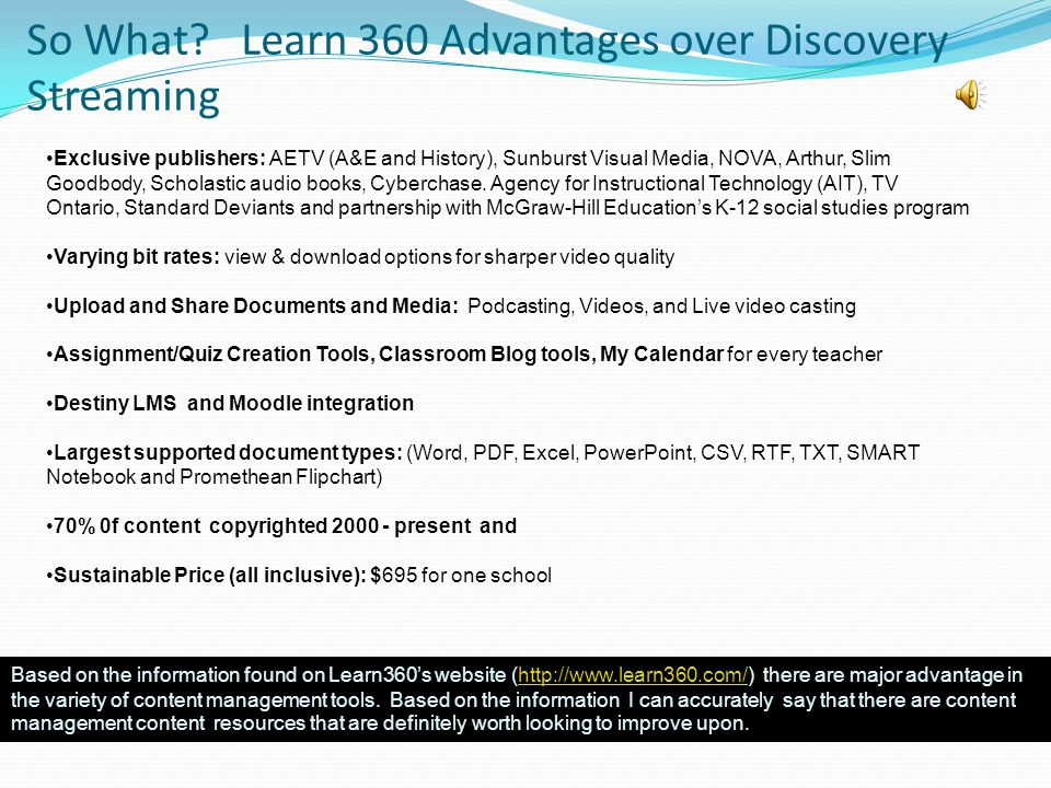 Recommendations I can say with 90% accuracy that it would be to the advantage of Discovery Education to: reduce pricing structure and add on application prices.