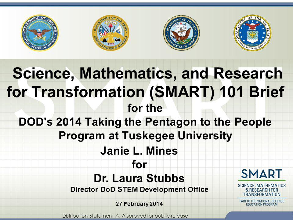 Distribution Statement A. Approved for public release Science, Mathematics, and Research for Transformation (SMART) 101 Brief for the DOD's 2014 Takin
