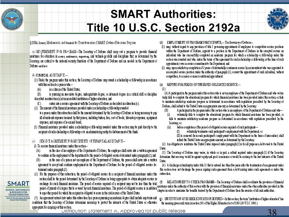 Distribution Statement A. Approved for public release SMART Authorities: Title 10 U.S.C. Section 2192a 38