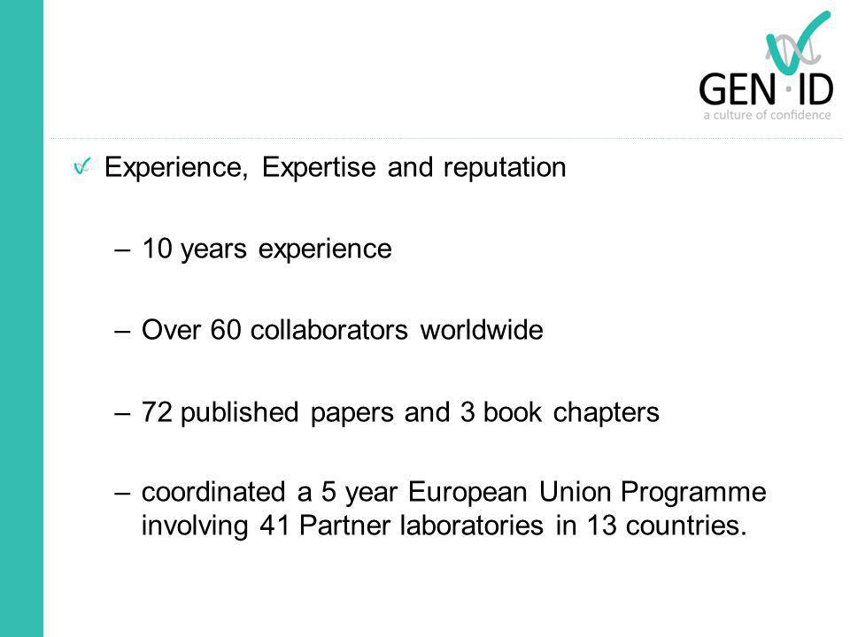 Experience, Expertise and reputation –10 years experience –Over 60 collaborators worldwide –72 published papers and 3 book chapters –coordinated a 5 y