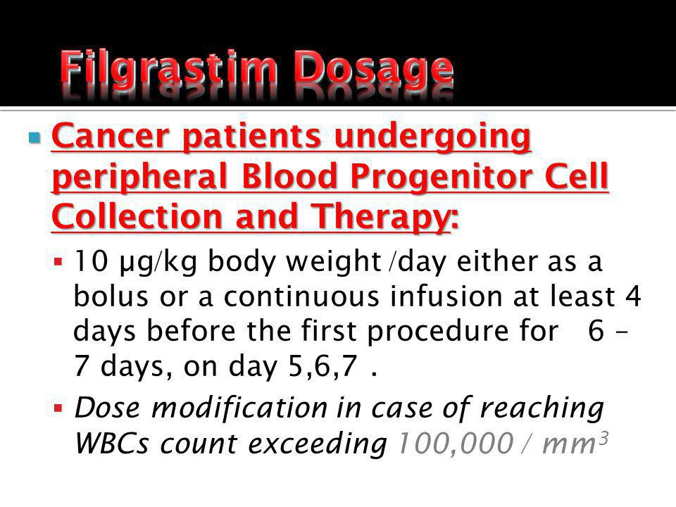 Cancer patients undergoing peripheral Blood Progenitor Cell Collection and Therapy: Cancer patients undergoing peripheral Blood Progenitor Cell Collection and Therapy: 10 µg/kg body weight /day either as a bolus or a continuous infusion at least 4 days before the first procedure for 6 – 7 days, on day 5,6,7.