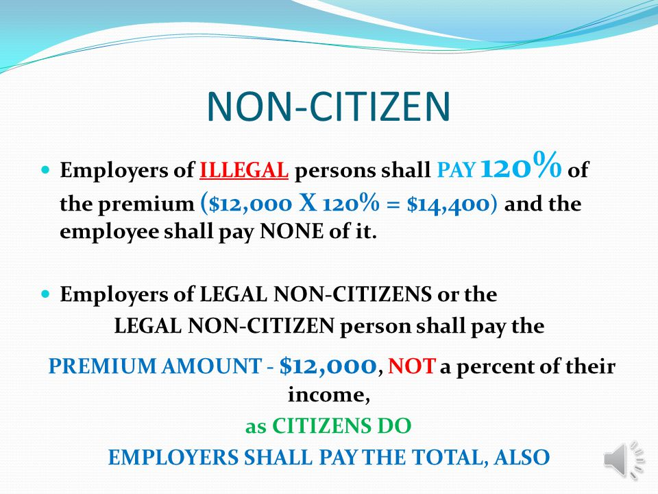 NON-CITIZEN Any person living in the US illegally or legally shall be covered under this Plan.