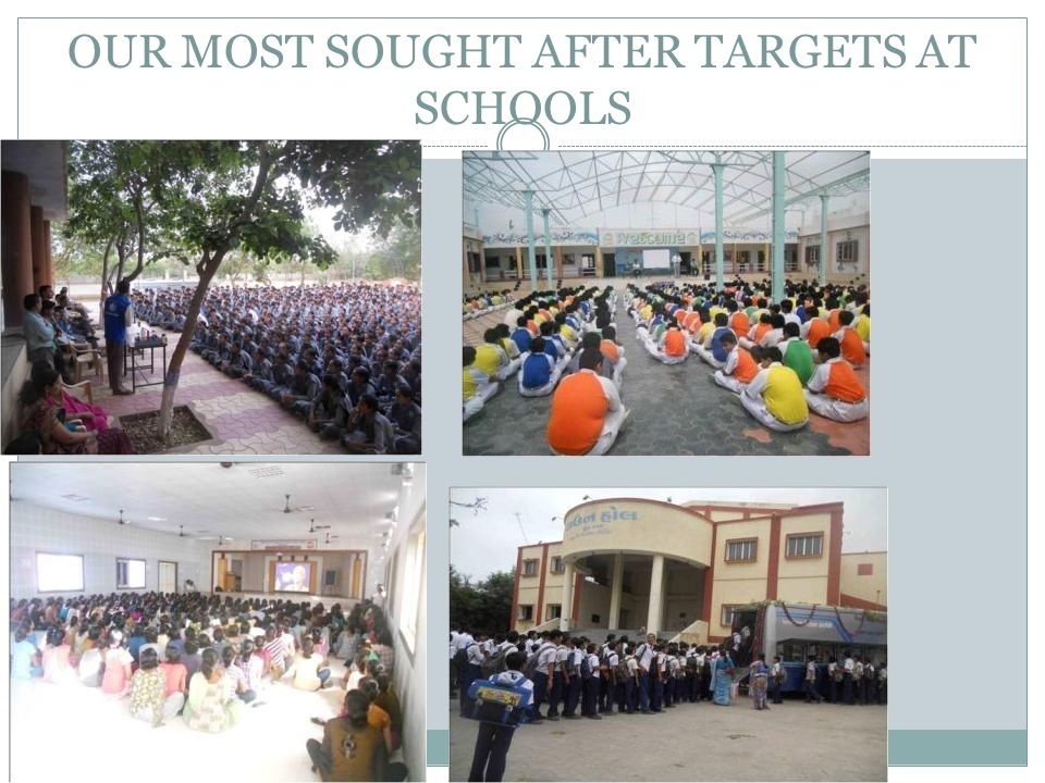 OUR MOST SOUGHT AFTER TARGETS AT SCHOOLS